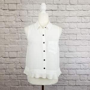 CAbi white sleeveless button front pleated top